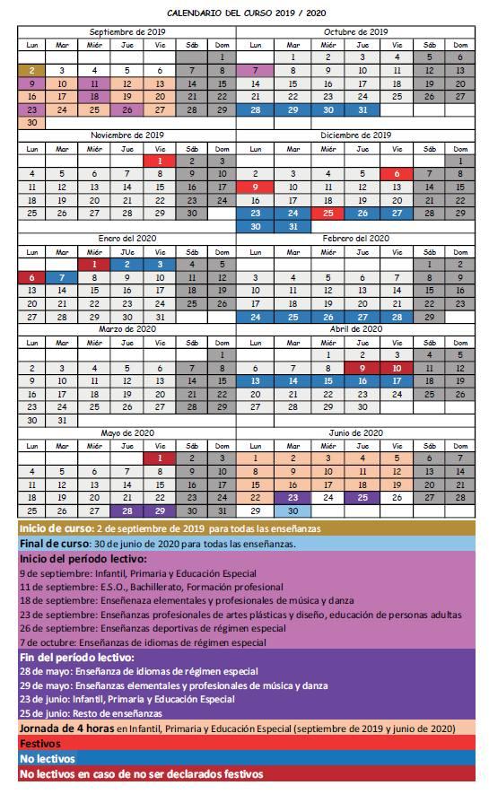 Calendario Diario 2020.Calendario Escolar 2019 2020 El Diario Montanes