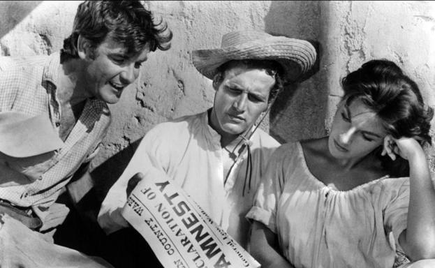 James Best, Paul Newman y Lita Milan en 'El zurdo'.